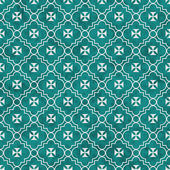 Teal and White Maltese Cross Symbol Tile Pattern Repeat Backgrou — Stock Photo