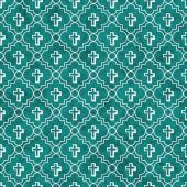 Teal and White Cross Symbol Tile Pattern Repeat Background — Stock Photo