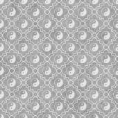 Gray and White Yin Yang Tile Pattern Repeat Background — Stock Photo