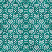 Teal and White Chevron Hearts Tile Pattern Repeat Background — Stock Photo