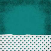 Square Teal and White Polka Dot Torn Grunge Textured Background — Stock Photo