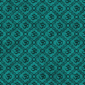 Teal and Black Aum Hindu Symbol Tile Pattern Repeat Background — Stock Photo