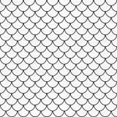 Black and White Shell Tiles Pattern Repeat Background — Stock Photo