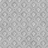 Gray and White Cross Symbol Tile Pattern Repeat Background — Stock Photo