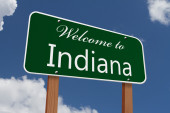 Welcome to Indiana Road Sign — Stock Photo