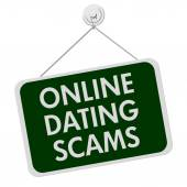 Online Dating Scam Sign — Stock Photo