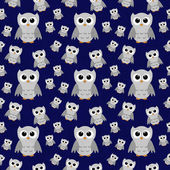 Gray Owls on Blue Textured Fabric Repeat Pattern Background — Stock Photo
