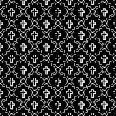 Black and White Cross Symbol Tile Pattern Repeat Background — Stock Photo