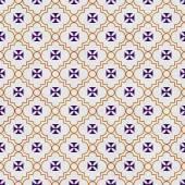 Purple and Gold Maltese Cross Symbol Tile Pattern Repeat Backgro — Stock Photo