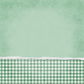Square Green and White Gingham Torn Grunge Textured Background — Stock Photo