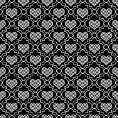 Black and White Chevron Hearts Tile Pattern Repeat Background — Stock Photo