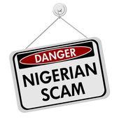 Nigerian Scam Danger Sign — Stock Photo