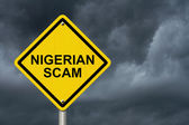Nigerian Scam Warning Sign — Stock Photo