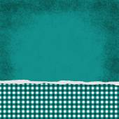 Square Teal and White Gingham Torn Grunge Textured Background — Stock Photo