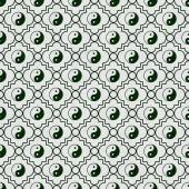 Green and White Yin Yang Tile Pattern Repeat Background — Stock Photo