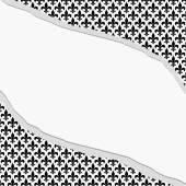 Black and White Fleur De Lis Pattern Torn Textured Fabric Backgr — Stock Photo