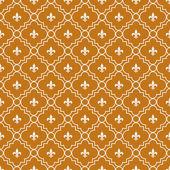 Orange and White Fleur-De-Lis Pattern Textured Fabric Background — Stock Photo
