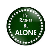 I'd Rather Be Alone Button — Stock Photo