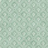 Pale Green and White Cross Symbol Tile Pattern Repeat Background — Stock Photo