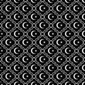 Black and White Star and Crescent Symbol Tile Pattern Repeat Bac — Stock Photo