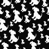 Black and White Puppy Dog Tile Pattern Repeat Background — Stock Photo