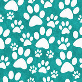 Teal and White Dog Paw Prints Tile Pattern Repeat Background — Stock Photo