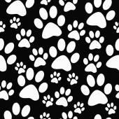 黒と白の犬足のプリント タイル パターンを繰り返す背景 — ストック写真