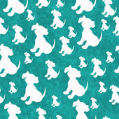 Teal and White Puppy Dog Tile Pattern Repeat Background — Stock Photo
