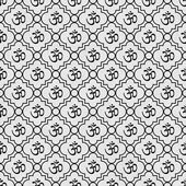 Black and White Aum Hindu Symbol Tile Pattern Repeat Background — Stock Photo