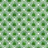 Green and White Marijuana Tile Pattern Repeat Background — Stock Photo