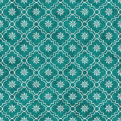 Teal and White Eight Pointed Pinwheel Star Symbol Tile Pattern R — Stock Photo
