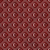 Red and White Star and Crescent Symbol Tile Pattern Repeat Backg — Stock Photo