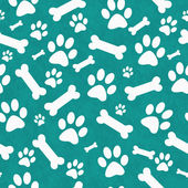 Teal and White Dog Paw Prints and Bones Tile Pattern Repeat Back — Stock Photo
