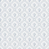Pale Blue and White Cross Symbol Tile Pattern Repeat Background — Stock Photo