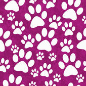 Pink and White Dog Paw Prints Tile Pattern Repeat Background — Stock Photo