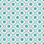 Teal and White Wheel of Dharma Symbol Tile Pattern Repeat Backgr — Stock Photo