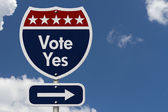 American Vote Yes Highway Road Sign — Stock Photo