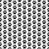 Black and White Dog Paw Prints Tile Pattern Repeat Background — Stock Photo