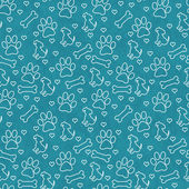 Teal and White Doggy Tile Pattern Repeat Background — Stock Photo