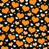 Orange, White and Black Hearts Tile Pattern Repeat Background — Stock Photo