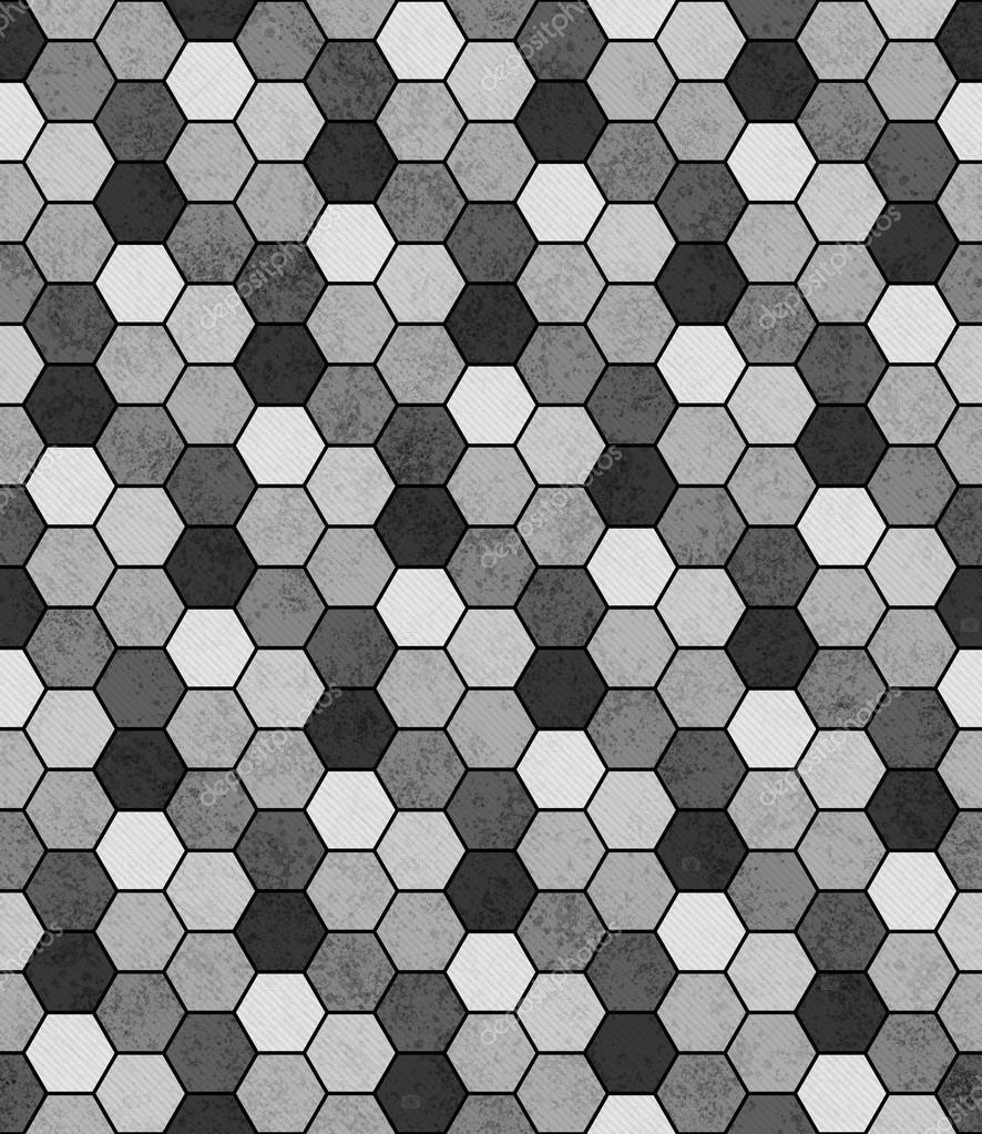 Gris Blanco Y Negro Hexagonal Mosaico Abstracto Dise 241 O