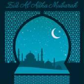 Eid Al Adha window card — Stock Vector