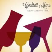 Retro overlay cocktail card — Stock Vector