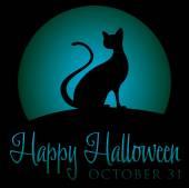 Black cat  Halloween card — Stock Vector