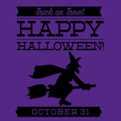 Witch typographic Halloween card — Stock Vector