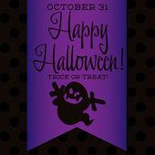Ghost Halloween sash card — Stock Vector