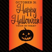 Jack O' Lantern Halloween sash card — Stock Vector
