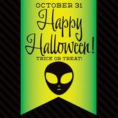 Alien Halloween sash card — Stock Vector