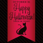 Black cat Halloween sash card — Stock Vector