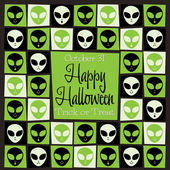 Alien mosaic retro Halloween card — Stock Vector